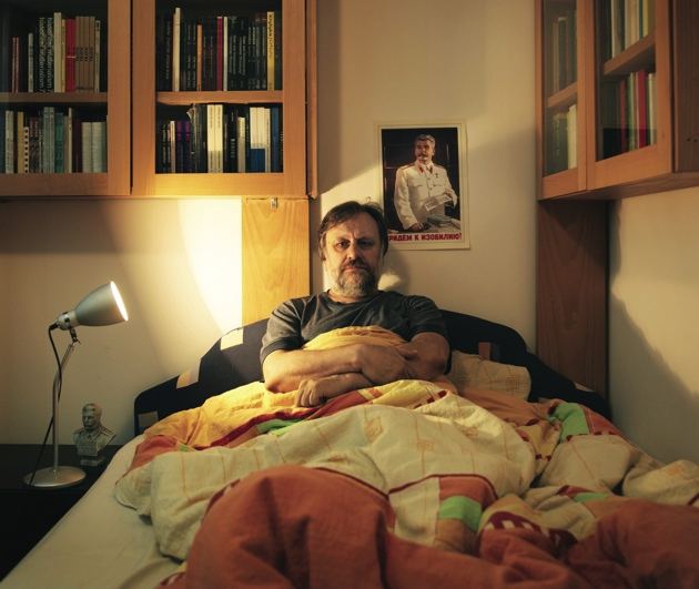 Slavoj Žižek in zijn appartement in Ljubljana
